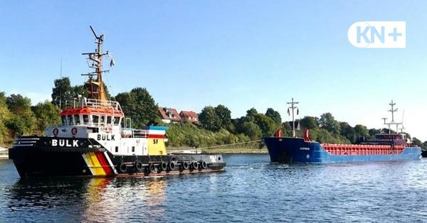 "Frachter ""Rimini"" in der Schleuse in Kiel havariert"