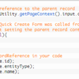 How to get the originating record reference in the form script of the Quick Create Form