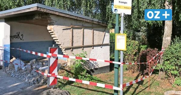 Krempin: VW T4 durchbrach Wartehausmauer