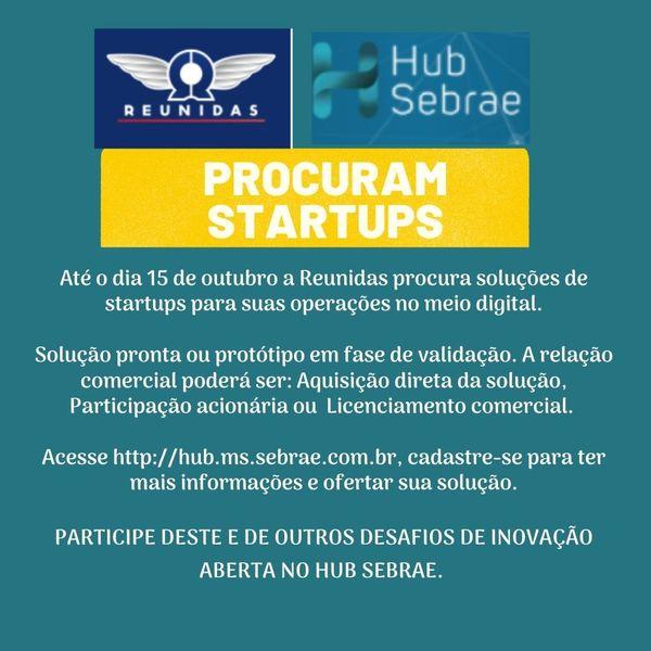 Pessoal, oportunidade de fazer negócios com a Reunidas. Informações completas e detalhes estão lá no HUB Sebrae: http://hub.ms.sebrae.com.br/