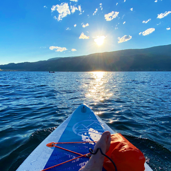 Sunset paddleboarding in Kelowna is my new thing 5 hour drive northeast of Vancouver.