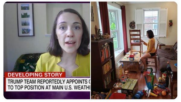 Links das Interview im Fernsehen sieht hochprofessionell aus, rechts ein Blick ins echte Homeoffice dazu. Besser kann man unsere Zeit gerade kaum zusammenfassen - hier die Hintergründe: https://www.jetzt.de/job/videocalls-im-home-office-was-sich-im-hintergrund-verbirgt