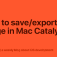 How To Save/Export An Image In Mac Catalyst