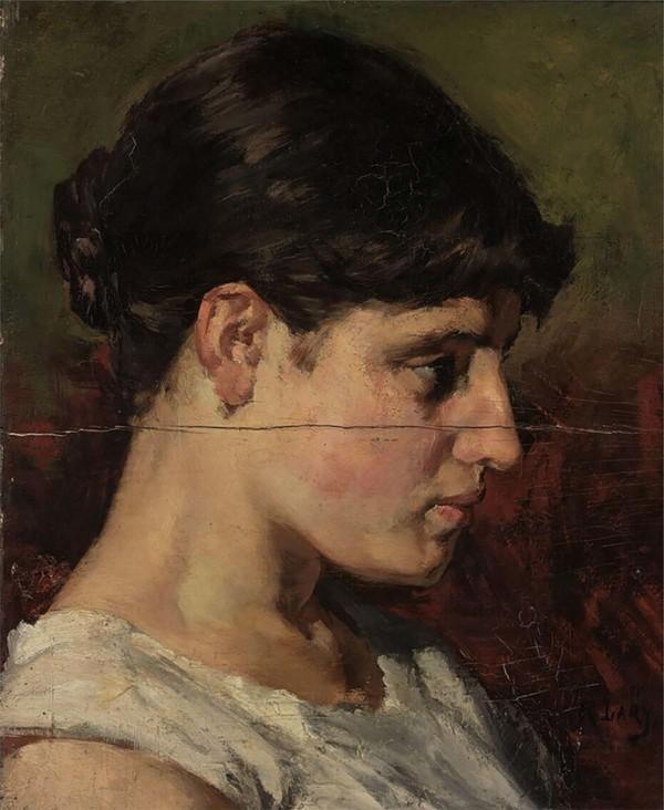 'Studiekop' - olieverf op paneel: Roland Larij (herkomst: coll. Museum Boijmans van Beuningen, Rotterdam)