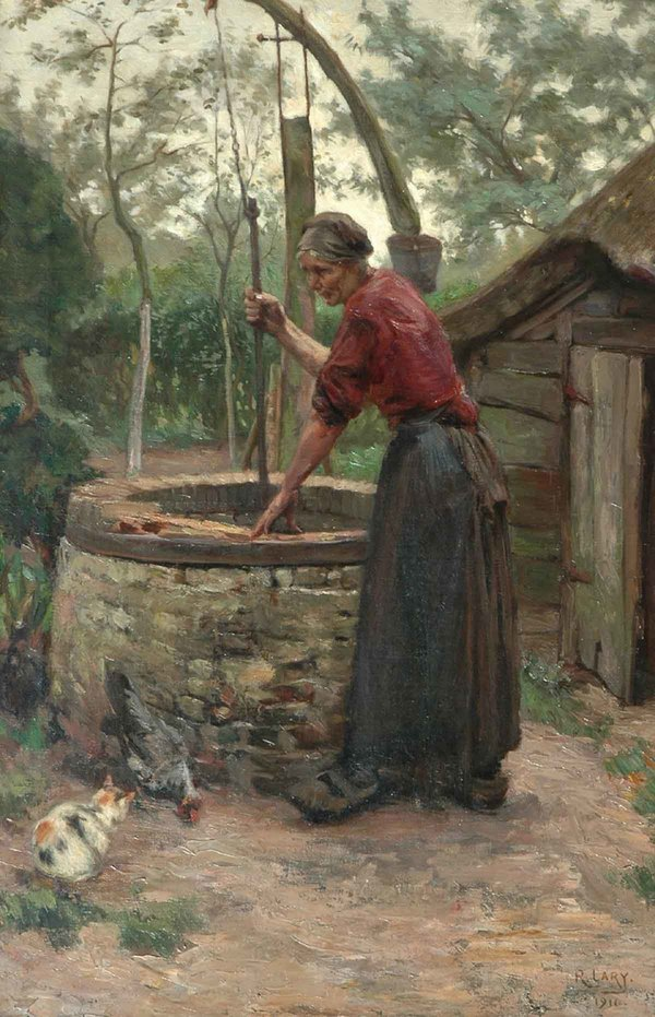 'Bij de waterput' - olieverf op doek: Roland Larij (herkomst: voorm. coll. Simonis & Buunk, Ede)