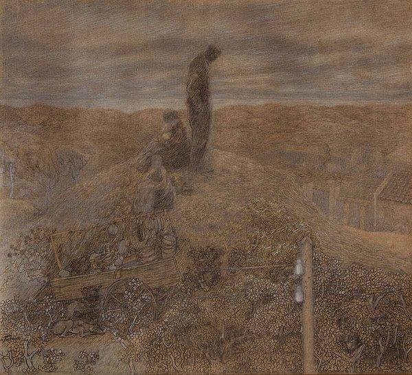 'Zwervers in de duinen' 1891 - potlood en krijt op papier: Jan Toorop