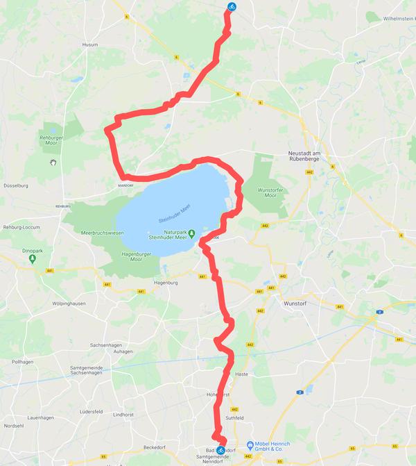 Die heute beschriebene Route ist rund 51 Kilometer lang. (HAZ-Grafik: Llorens | GoogleMaps)
