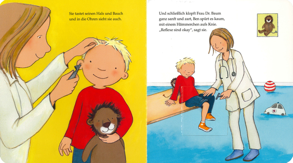 """Blick ins Buch """"Messen, tasten, abhören, heute gehe ich zum Kinderarzt"""". Loewe Verlag"""
