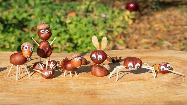 Kastanien basteln: Kastanienfiguren und Kastanienmännchen - einfache Anleitung für die beliebten Herbstklassiker