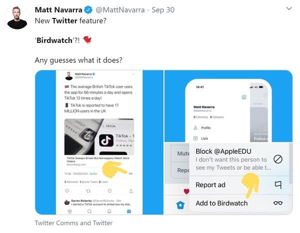 Twitter top secret new 'Birdwatch' feature