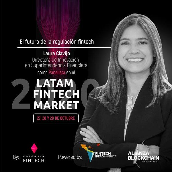 """¡Grandes noticias! 🗣️ @Laura_Clavijo_M, gran líder de la Innovación Financiera en Colombia🔥, nos acompaña en el panel de regulación: """"El futuro de la regulación Fintech"""" del #LatamFintechMarket2020 🤩"""