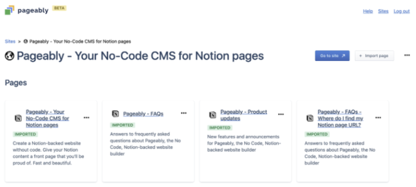 Pageably - Publish your Notion pages without code