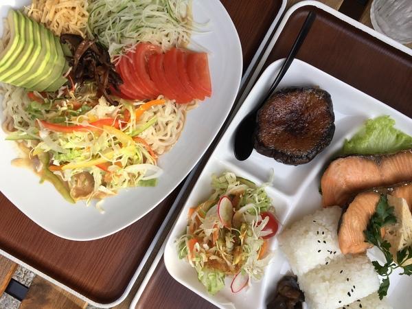 Hiyashi Chuka und Sake No Yuan Yaki im Tokyo Cafe in der Kolonnadenstraße – vor allem die unscheinbar anmutende Miso-Aubergine zur Beilage ist ein Gedicht. Quelle: Josephine Heinze