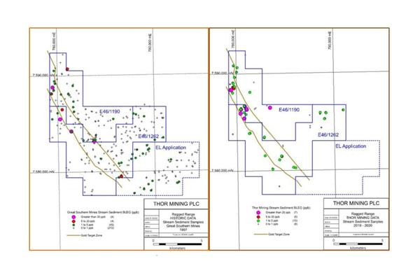 Thor Mining PLC (THR.ASX.L) Ragged Range Historic Stream Sediment Samples