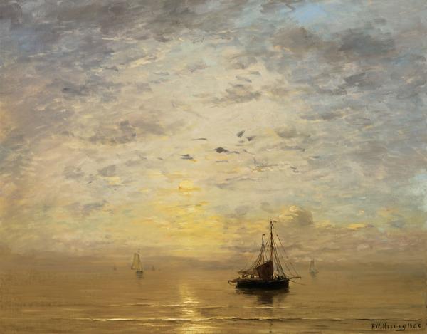 'Marine' 1890 - olieverf op doek: H.W. Mesdag (lot 21, Christie's New York, herkomst: coll. Brooklyn Museum)
