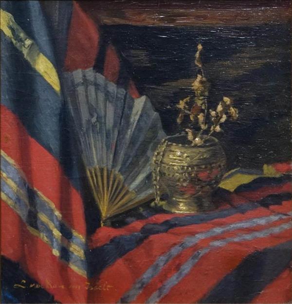 'Stilleven met waaier' - olieverf op paneel: Lucie van Dam-van Isselt (kavel 1209, Veilinghuis Van Spengen)