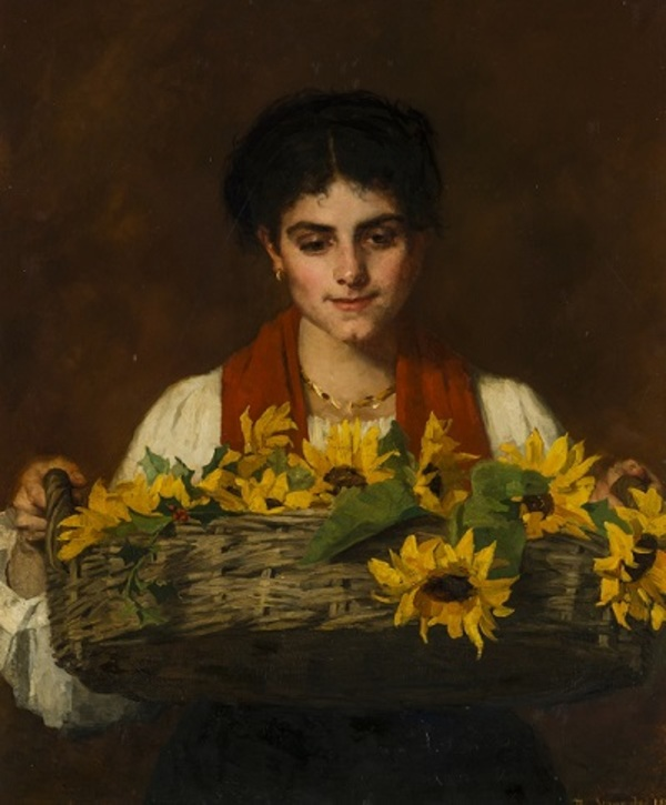 'Vrouw met zonnebloemen' 1885 - olieverf op doek: Thérèse Schwartze
