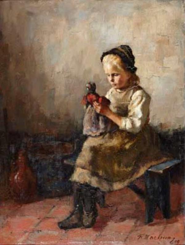 'Meisje met pop' 1909 - olieverf op doek: Froukje Wartena