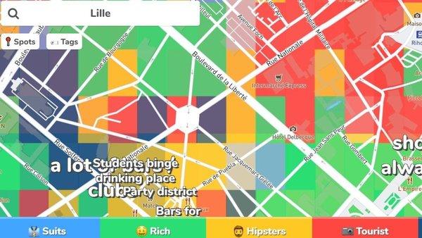 Hoodmaps, la carte interactive drôle et clichée sur les quartiers de Lille - Hoodmaps presenteert ander perspectief op wijken Rijsel