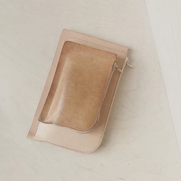 A7 + A6 Leather Wallets in Natural