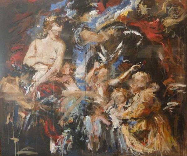 Many Racine, Peace & War - after Rubens, 120 x 100 cm, Acrylic, Charcoal on Canvas