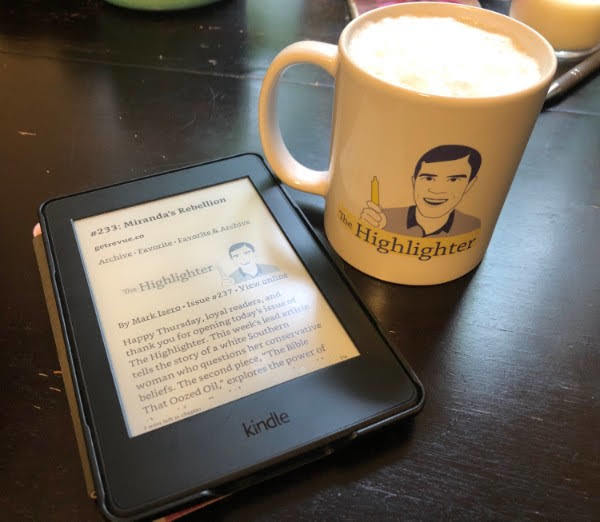 """Along with a warm beverage, VIP Maria is re-reading her copy of """"Miranda's Rebellion,"""" this month's Article Club selection, on her Kindle. Want to join Article Club this month? Here's more info: hltr.co/miranda1"""