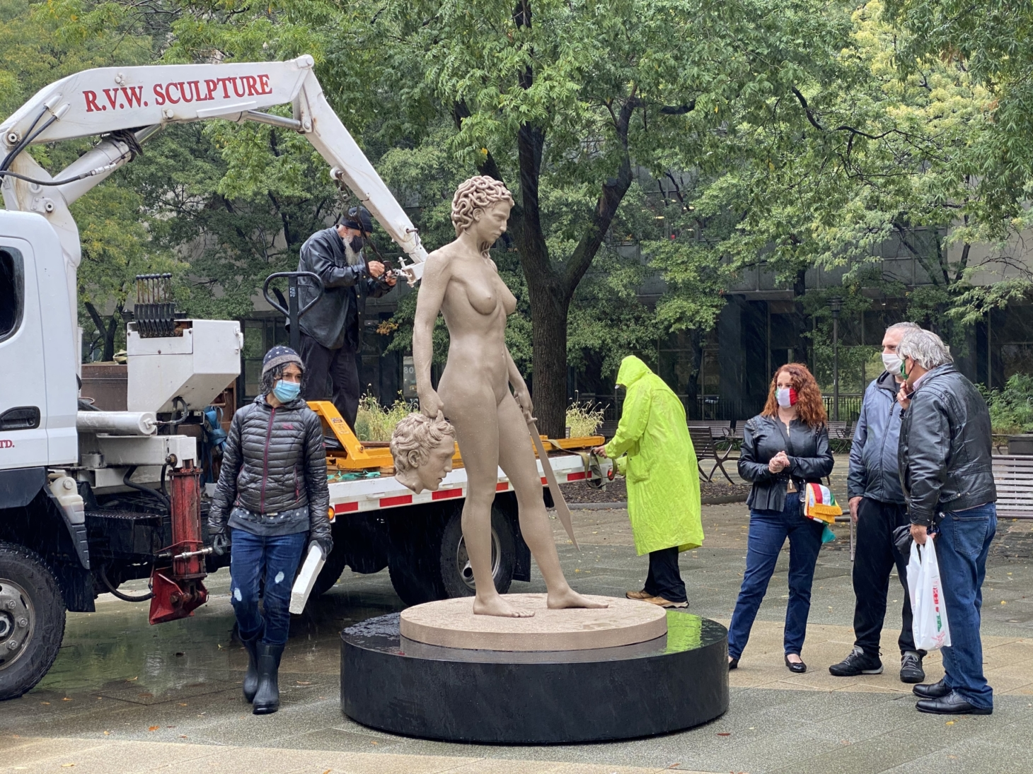 "Luciano Garbati's ""Medusa With The Head of Perseus"" being installed at Collect Pond Park today (image courtesy MWTH Project)"