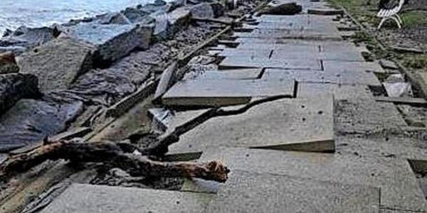 Sturmtief Gisela zerstört Windpromenade in Sassnitz