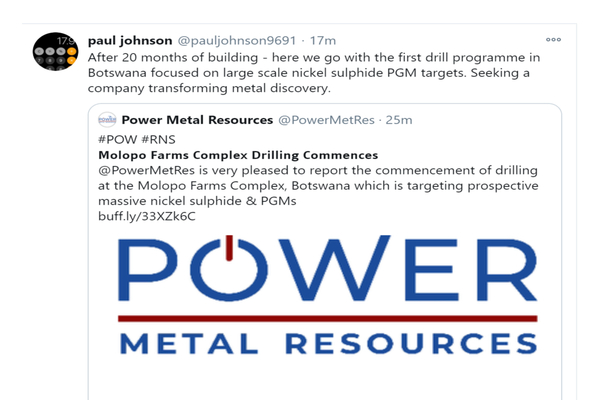 Power Metal (POW.L) Botswana Molopo Farms Complex – Drilling Commences