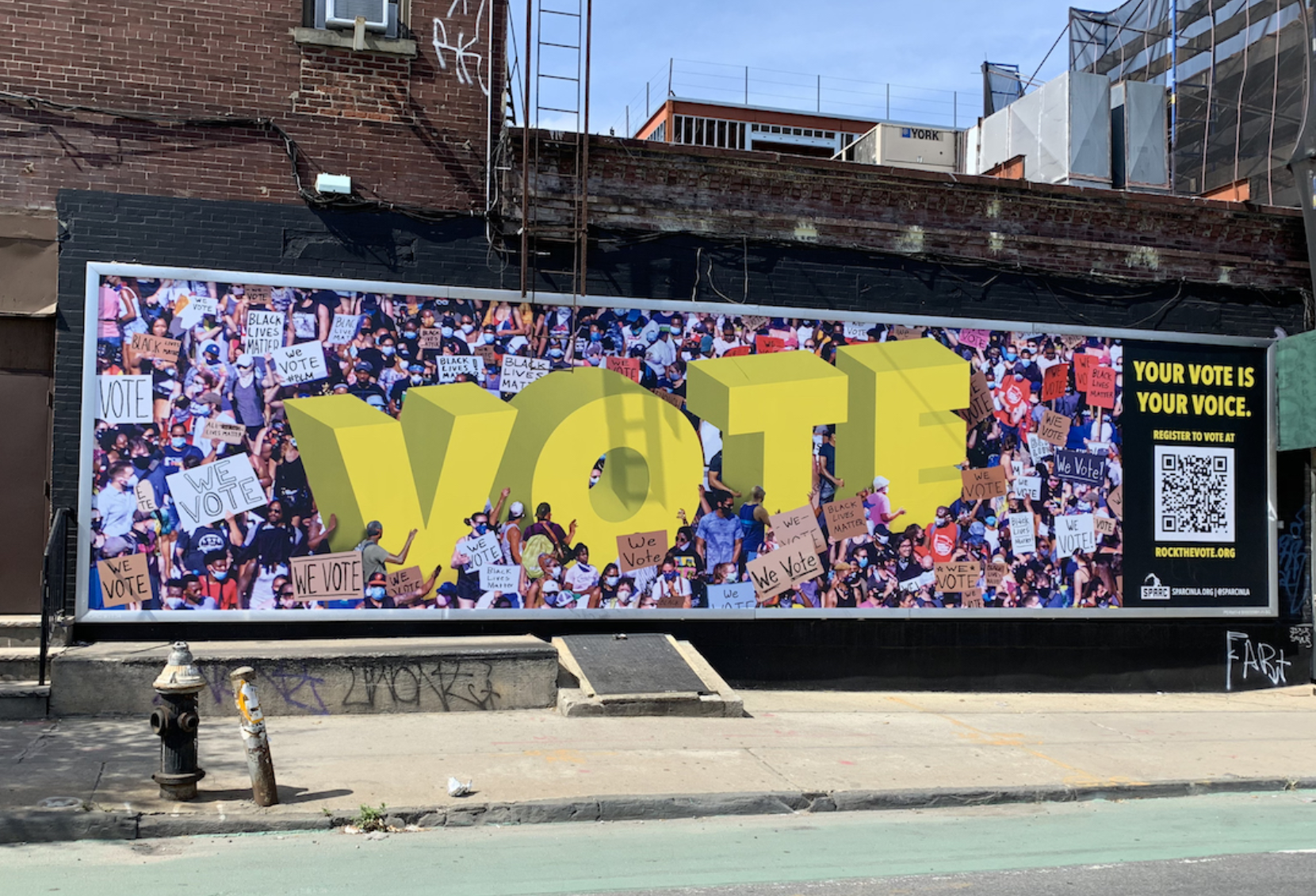 "SPARC Digital Mural Lab, ""We Vote"" Brooklyn Voter Turnout 2020 (photo courtesy Alchemy)"