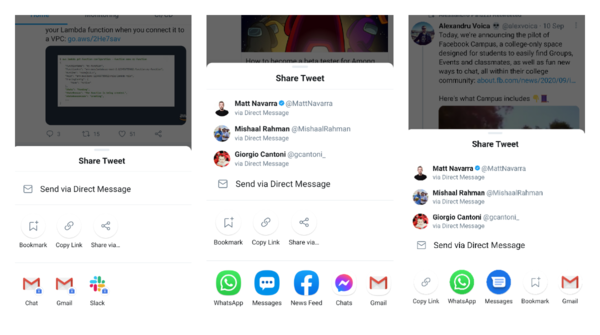 """Twitter got a new share layout that splits """"bookmark"""", """"copy"""" and """"share via"""" actions into a separate row"""