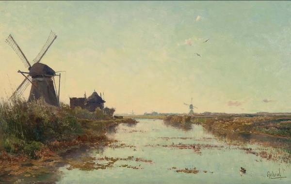 'Hollands polderlandschap met een wetering, een Zuid-Hollandse watermolen en een wipwatermolen' - olieverf op doek: Paul Gabriël (herkomst: coll.  Mark Smit Kunsthandel, Ommen)