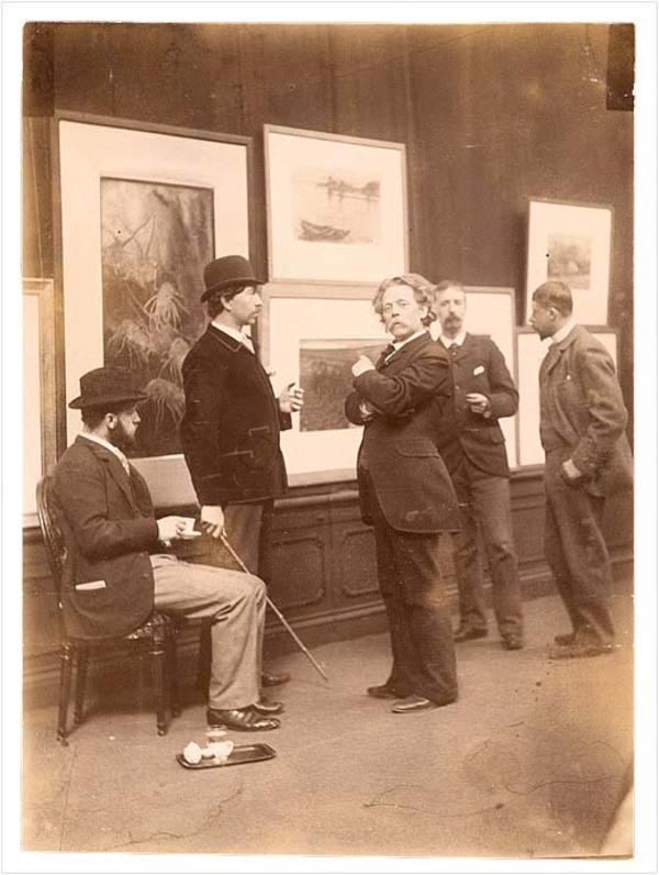 Commissie van Beheer over de Kunstzalen van Arti et Amicitiae in 1893 - met vlnr. G. Poggenbeek, N. Bastert, M. Heyl, J.S.H. Kever en G.H. Breitner