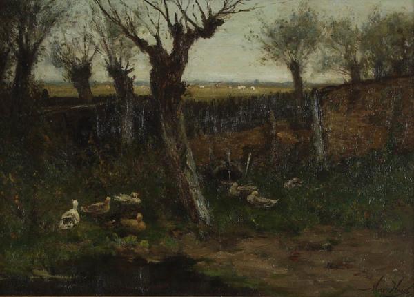 'Uiterwaarden laandschap' olieverf op doek: Marinus Heijl (herkomst: coll. Museum Veluwezoom, Doorwerth)