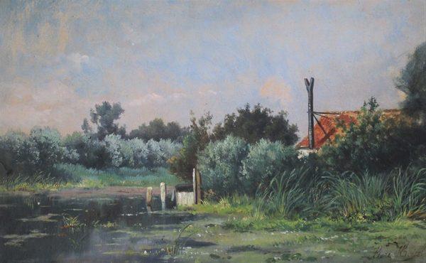 'Huisje in het groen' - olieverf op doek: Marinus Heijl (herkomst: coll. Kunsthandel J. van den Elshout)