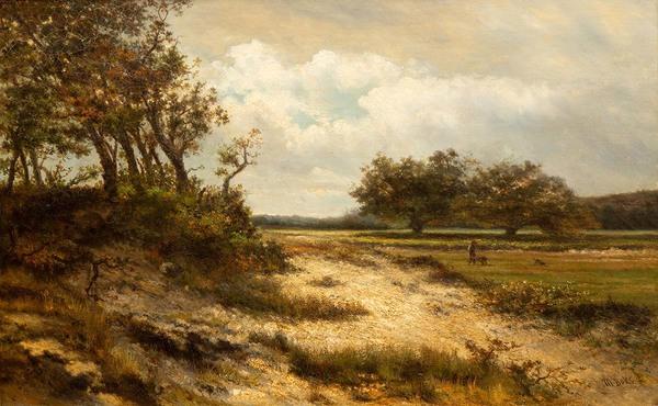 'Zomers landschap met een boer op het veld' - olieverf op doek: Martinus Boks (lot 281, Venduehuis Den Haag)