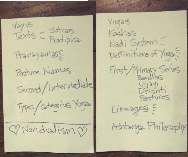 List of topics for YTT.