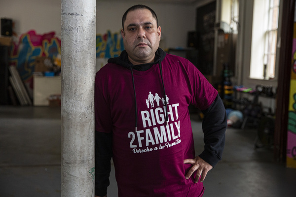Miguel Perez Jr., 42, poses for a portrait at Lincoln Methodist Church in Little Village on Tuesday. | Anthony Vazquez/Sun-Times