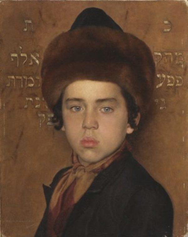 'Portret van een joods jongetje' - olieverf op doek: Isidor Kaufmann