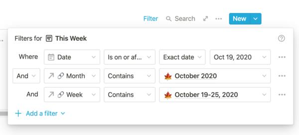 Screenshot of filters for my weekly meetings in Notion