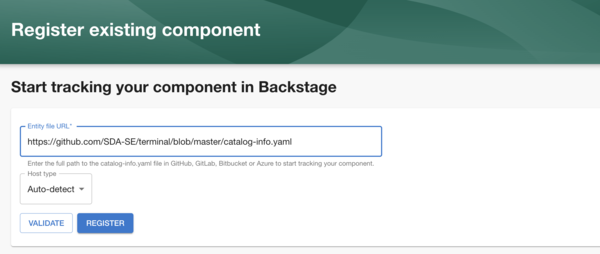Validation of components in Backstage