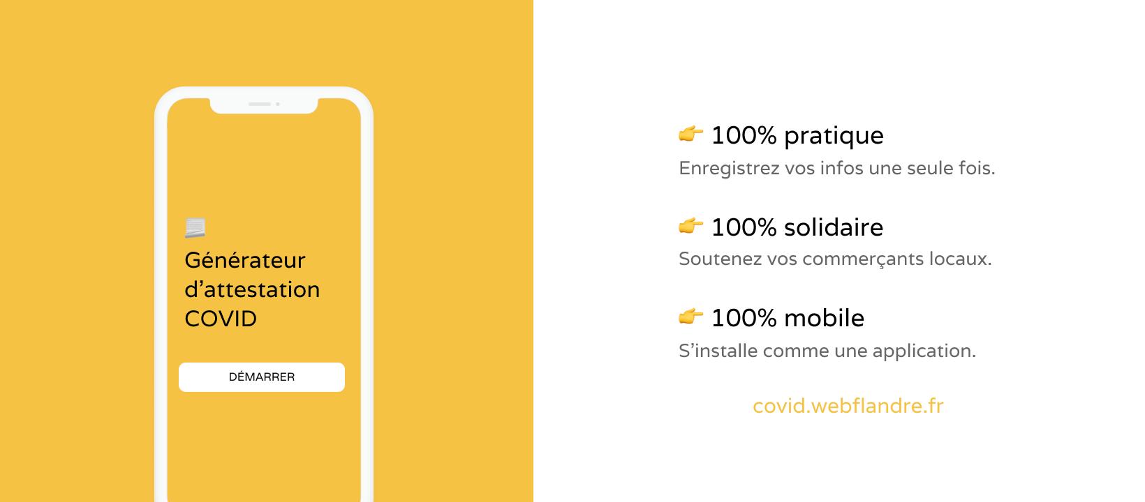 Ce formulaire sauvegarde vos informations dans votre navigateur et simplifie la génération d'attestations de sortie COVID. Fait avec 💛 par WebFlandre