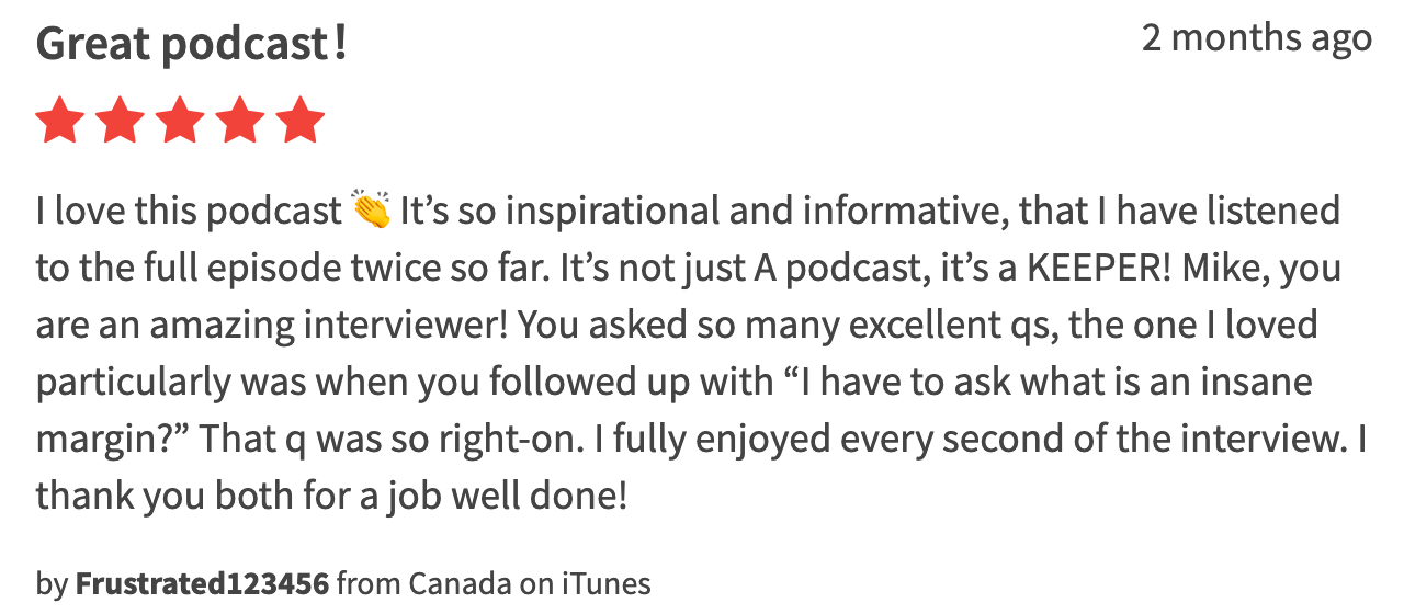This kind comment refers to the episode with Tiho Brkan. Thank you!