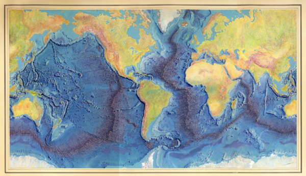 World Ocean Floor Panorama, painted by Heinrich Berann, based on 25 years of Marie Tharp's work throughout the oceans.