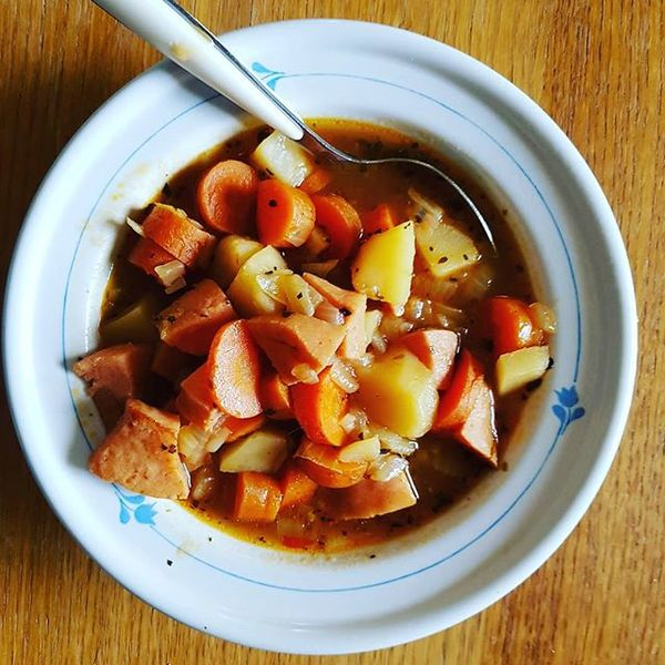 Sausage casserole, this and soups is proper autumn food.