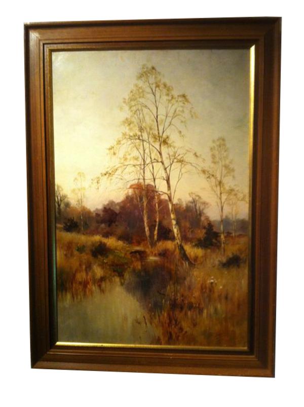 'Heidelandschap met berken' - olieverf op doek: Bernardus Arps