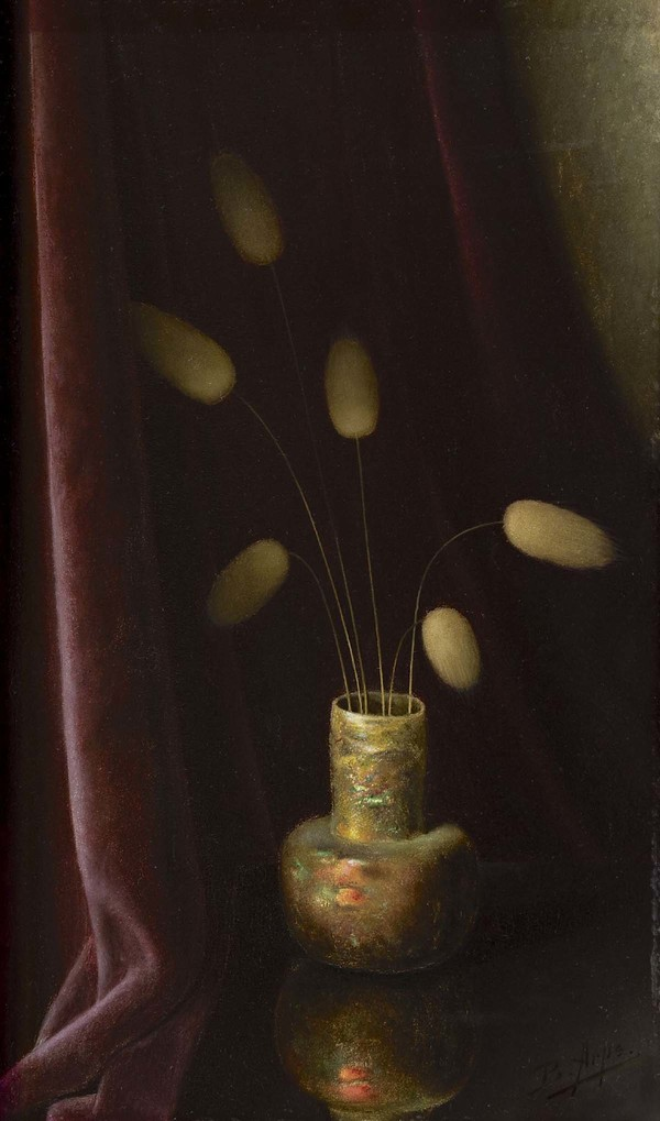 'Hazenstaartjes in Romeins vaasje' - olieverf op doek: Bernardus Arps (herkomst: coll. Simonis & Buunk, Ede)