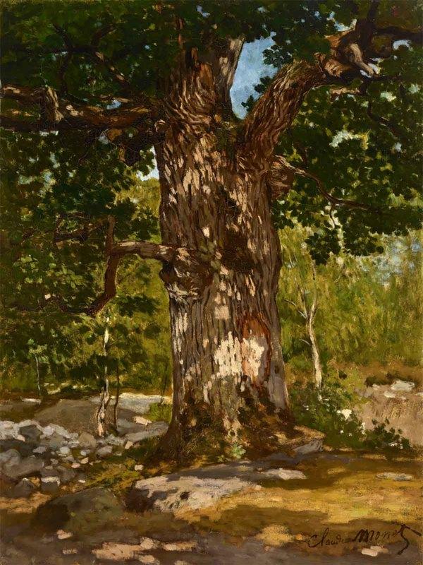 'Chêne au Bas-Bréau, le Bodmer' 1865 - olieverf op doek: Claude Monet (herkomst: privé collectie, Christie's Private Sales)