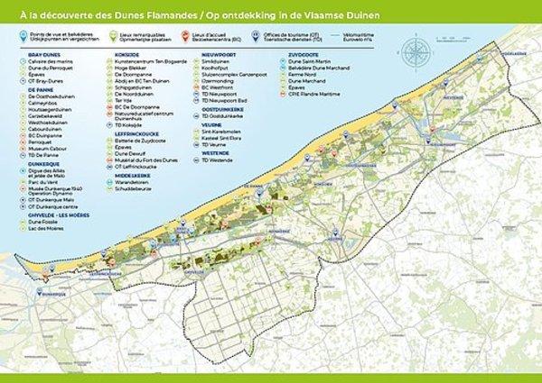 Carte transfrontalière à la découverte des Dunes Flamandes - Grensoverschrijdende kaart om de Vlaamse Duinen te ontdekken