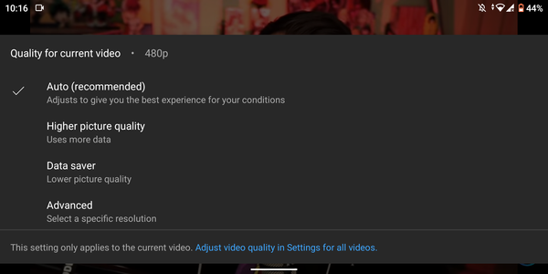 New YouTube video quality options, via 9to5Google.